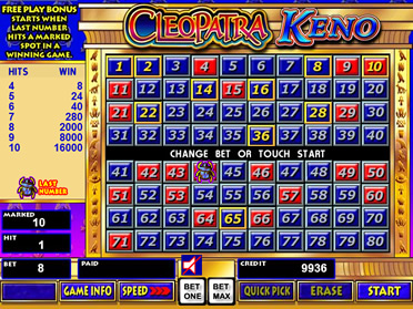 Cleopatra Keno Screenshot